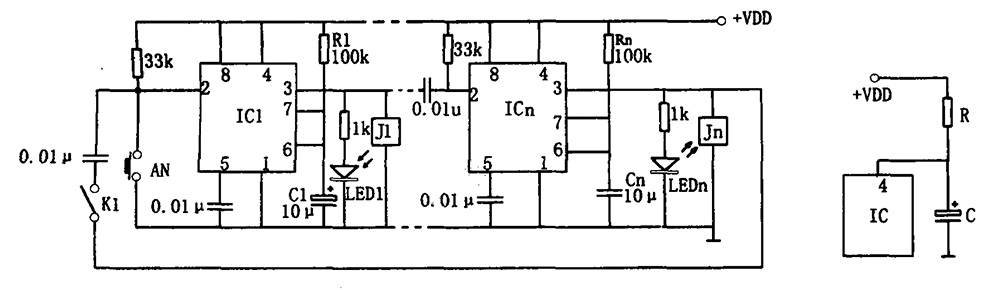 555 multi-temperature test circuit configuration - schematic