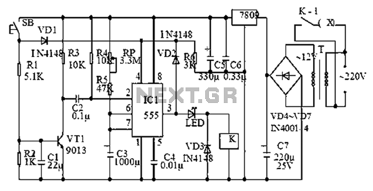 555 timer circuit diagram of a group of anti-jamming - schematic