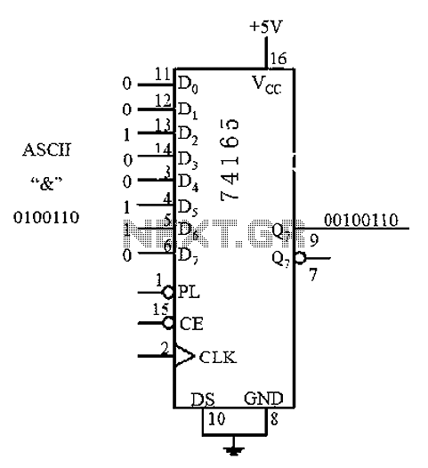 8-bit parallel input serial output interface circuit - schematic