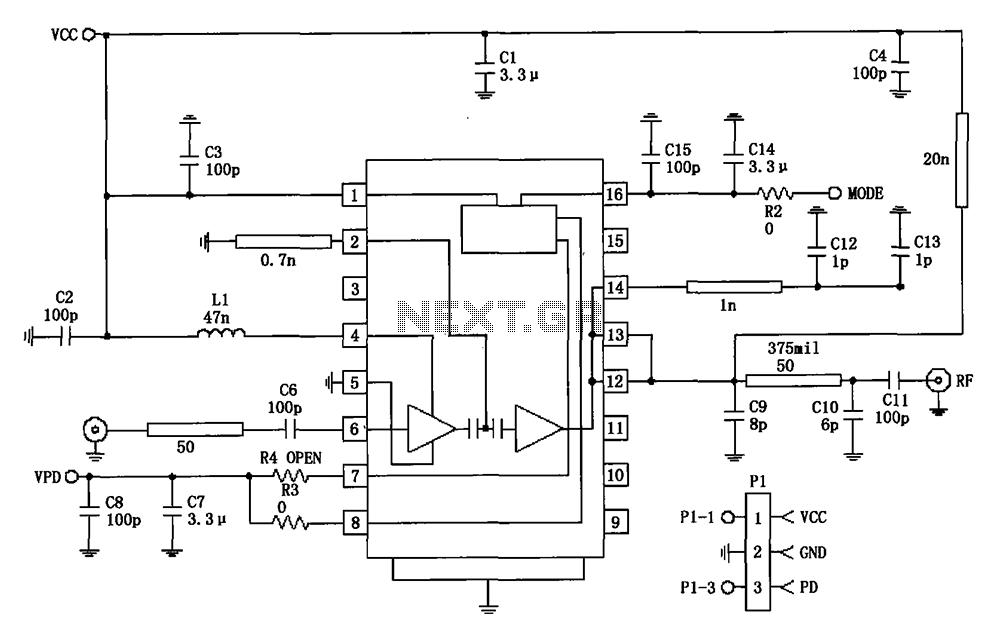 877 ~ 924MHz RF2152 power amplifier the circuit diagram - schematic