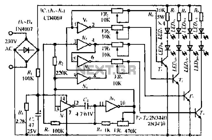A Christmas lights circuit - schematic