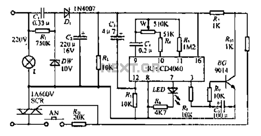 A bedside lamp delay circuit - schematic