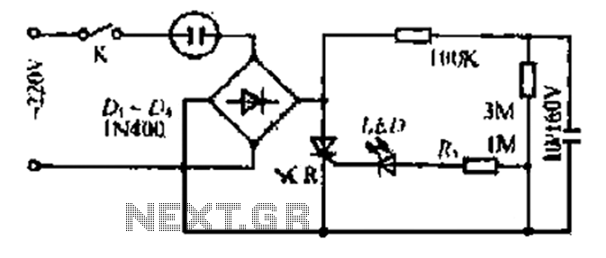 A non-contact automatic flashing lights circuit - schematic