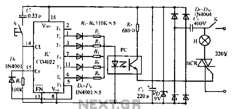 A one-touch bedside lamp dimmer circuit - schematic