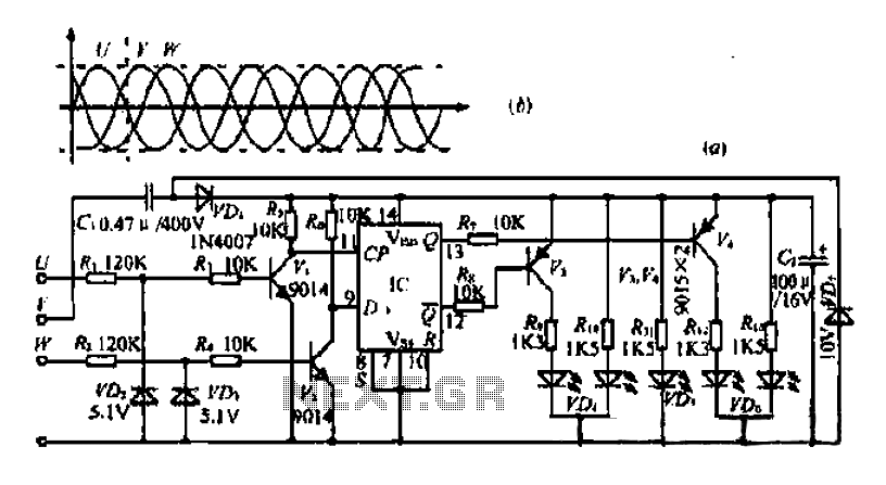 A read-only phase sequence indicator circuit - schematic