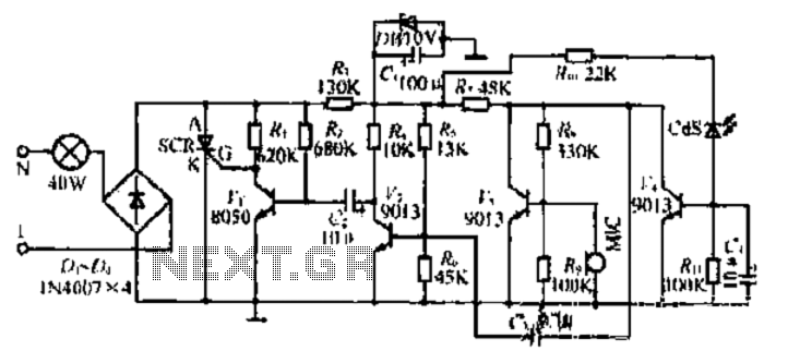 A sound and light control switch circuit