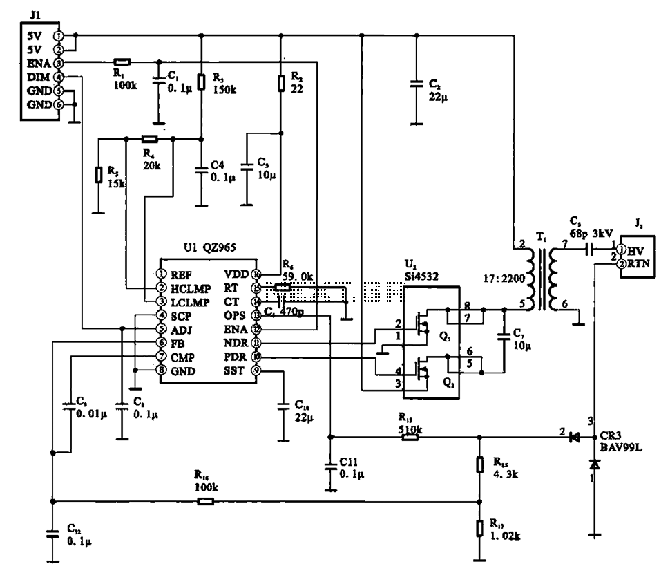 A typical liquid crystal display inverter circuit OZ965 - schematic