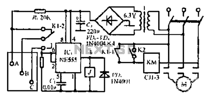 A water tank automatic control circuit - schematic