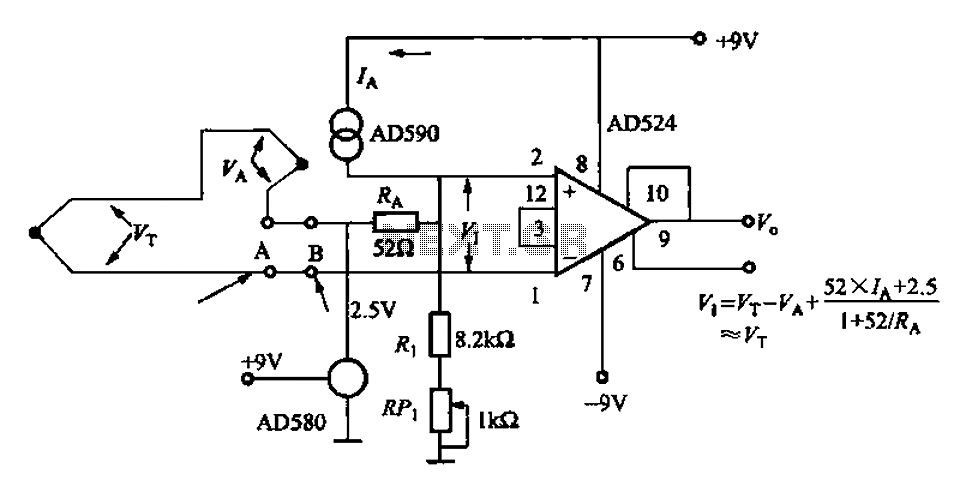 AD524J type thermocouple cold junction temperature compensation circuit - schematic