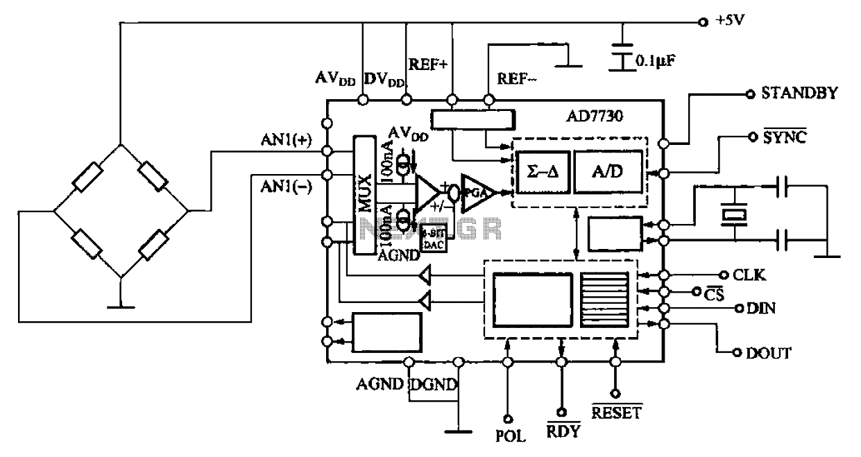 AD7730 digital pressure measuring circuit - schematic