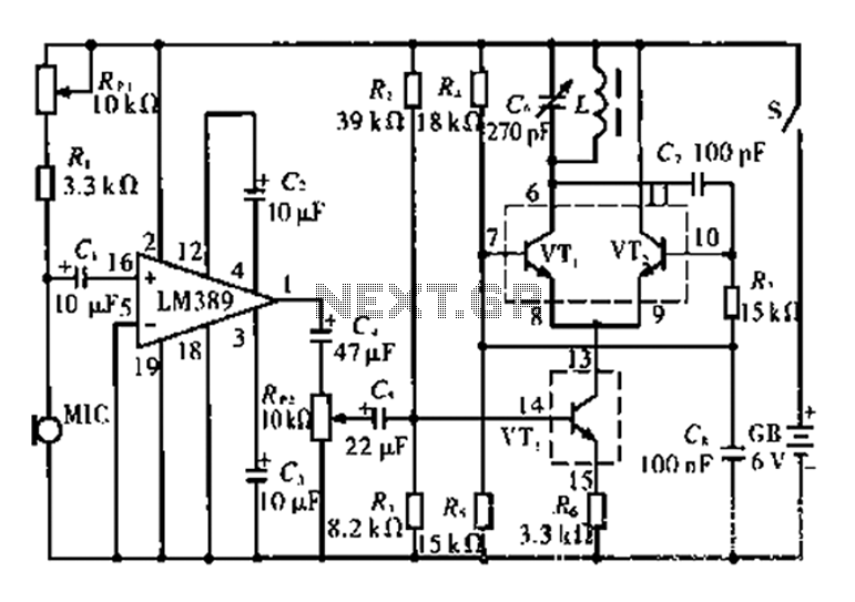 AM-fidelity wireless microphone circuit - schematic
