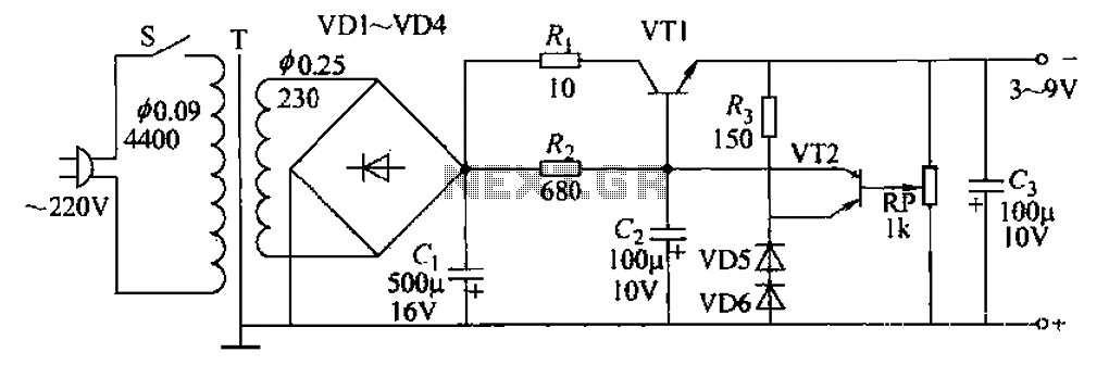 Adjustable from 3 to 9V 100mA power supply circuit - schematic
