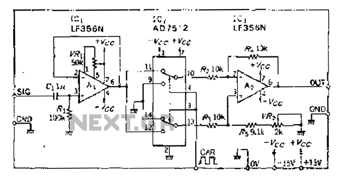 Analog switches carrier suppression amplitude modulation circuit - schematic