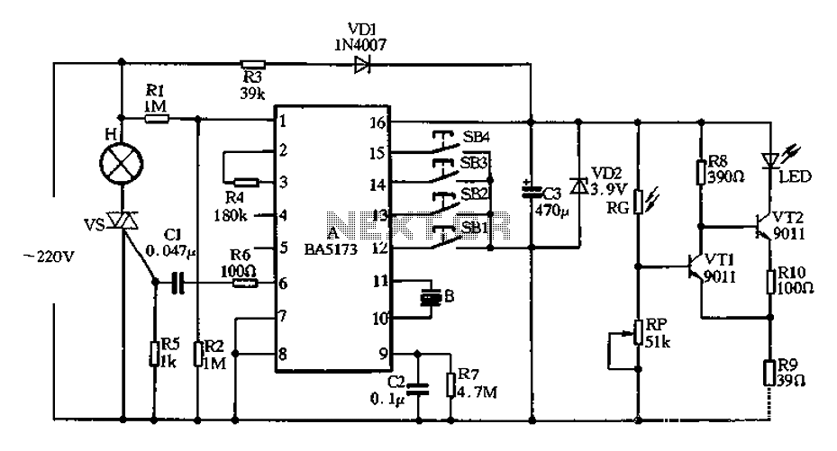 BA5173 produced by multi-function lamp dimmer - schematic