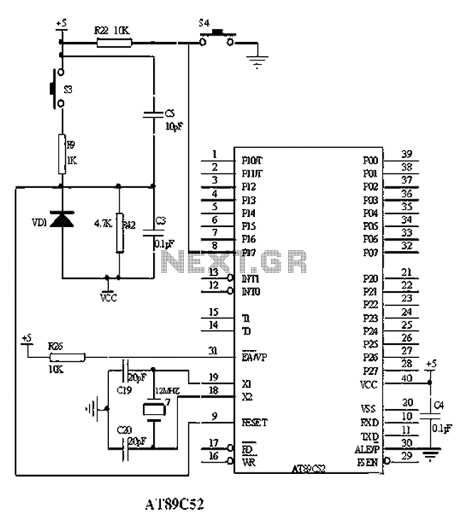 Based on AT89C52 minimum system interface circuit - schematic