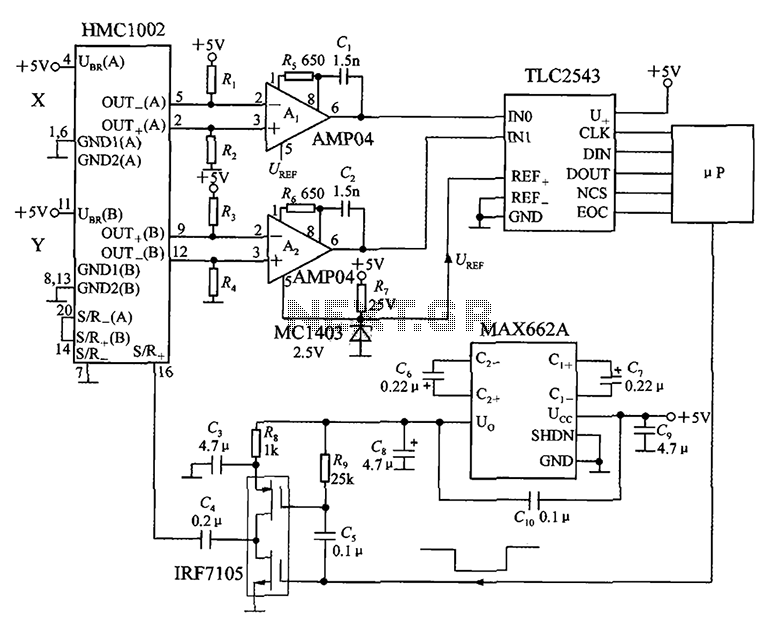 Magnetic field sensors circuit and serial interface application HMC1002 - schematic