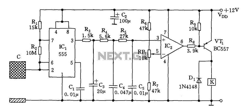 Capacitive switch circuit diagram - schematic