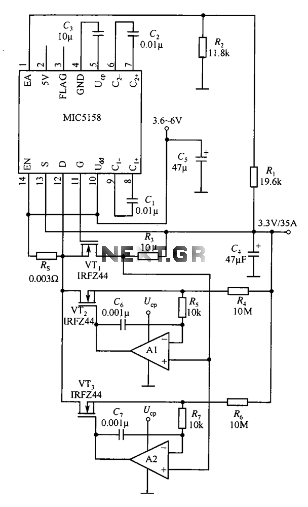 Consisting of a plurality of parallel MOSFET high current output linear regulator circuit MIC5158 - schematic