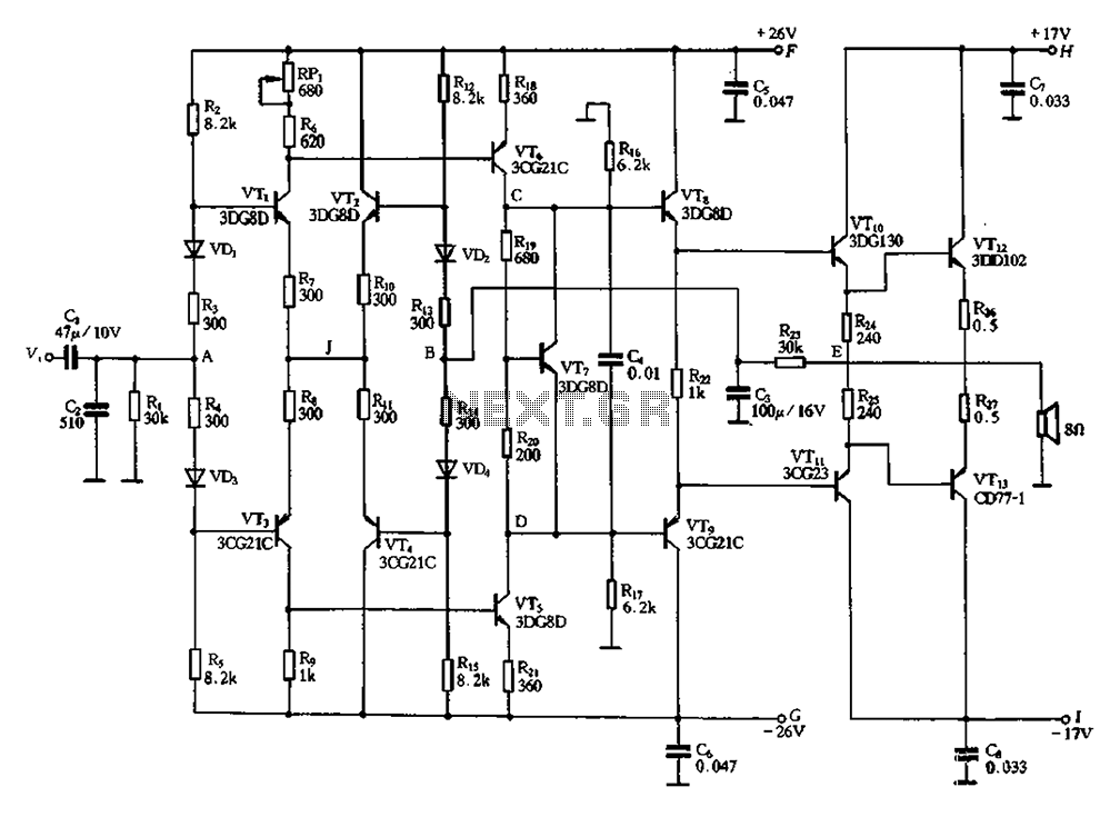 diamond differential amplifier circuit input under other circuits