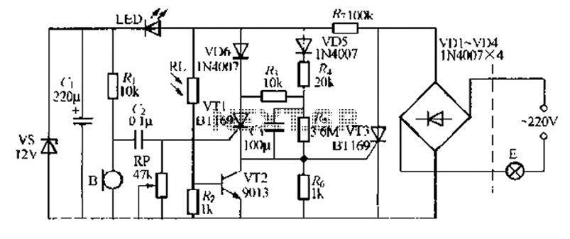 Discrete components sound and light control stairs delay switch circuit 5 - schematic
