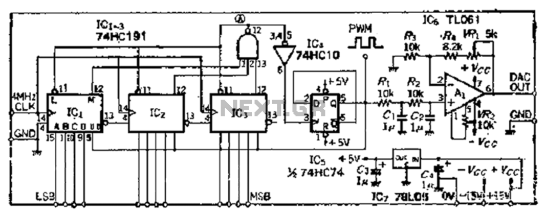 Easy to adjust high-precision PWM pulse width modulation 12-bit DA converter - schematic