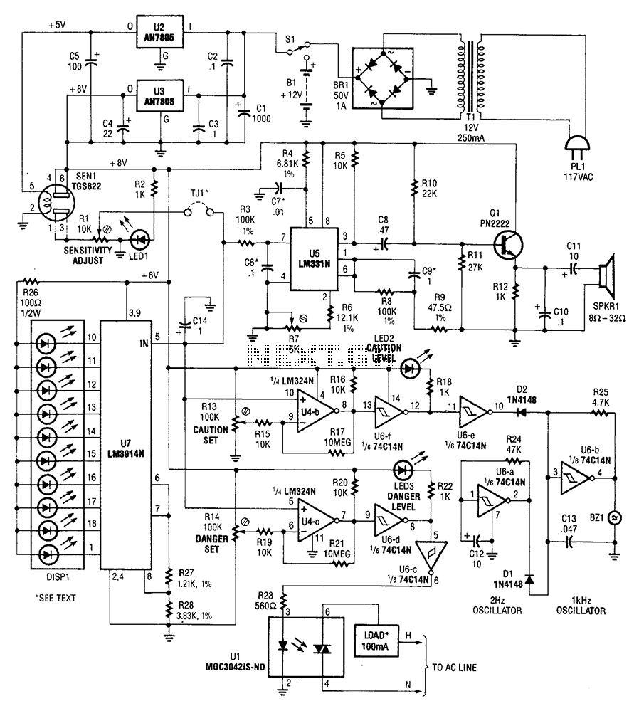 Explosive gas detector circuit diagram - schematic