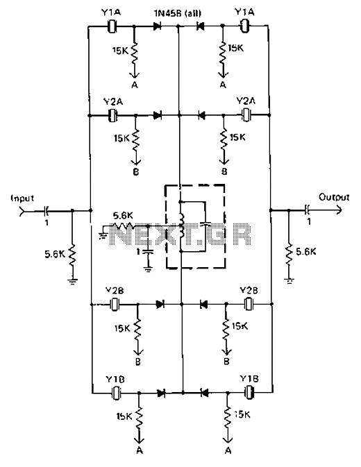 Four crystal diode switching circuit diagram of the IF filter - schematic