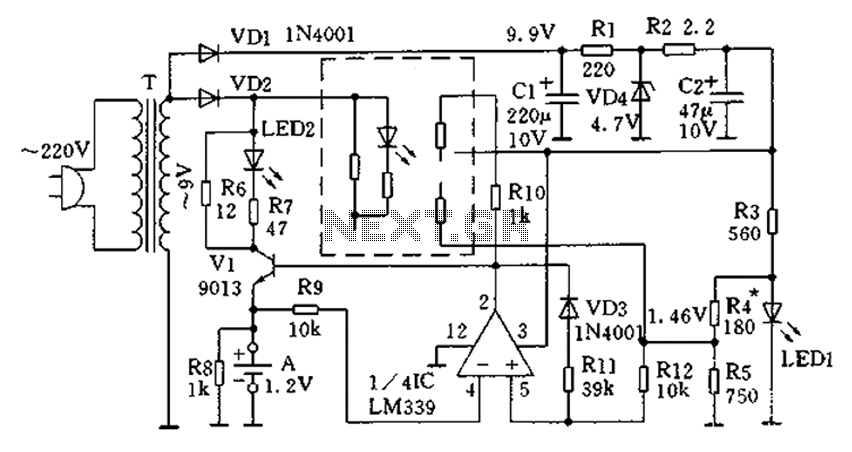 Four independent charging single battery automatic charger circuit - schematic