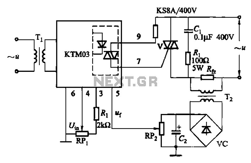 KTM03 type of circuit for controlling the triac - schematic