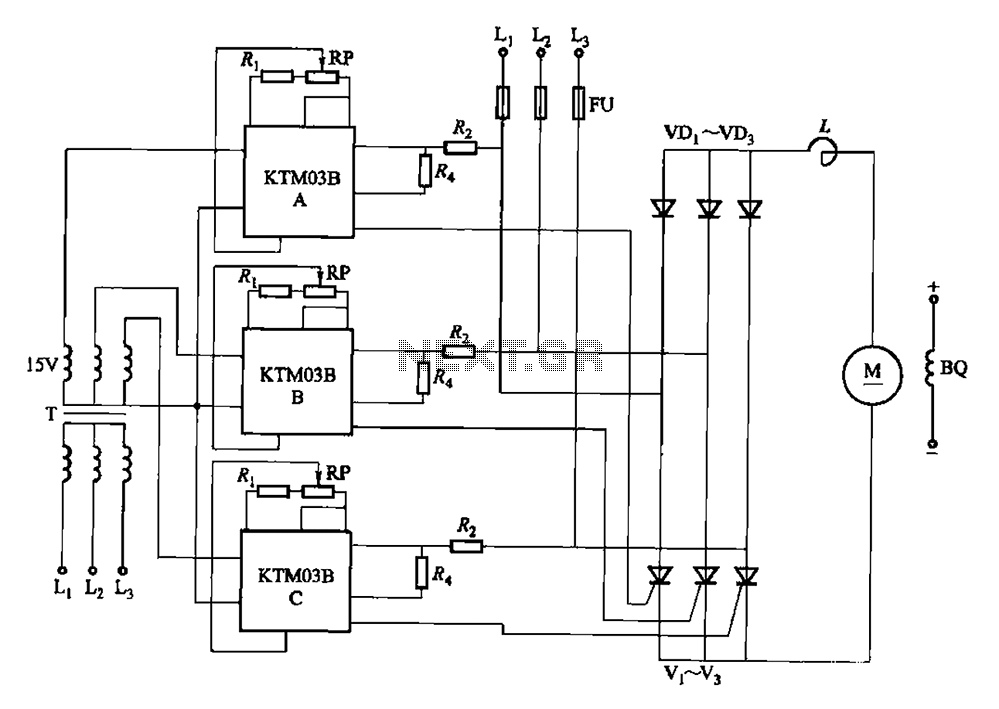 KTM03 type speed control for three-phase half-controlled rectifier circuit - schematic