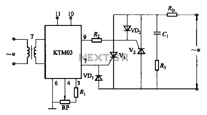KTM03 type used to control the two anti-parallel thyristor circuit - schematic
