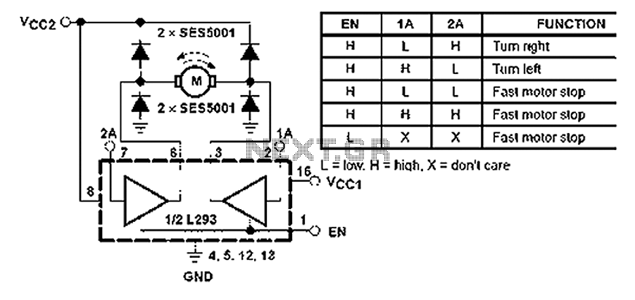 L293 reversible motor drive circuit diagram - schematic