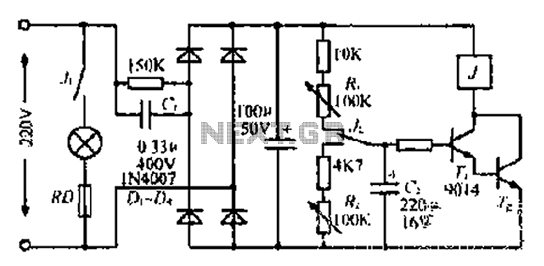 Lantern making use of a relay control circuit - schematic