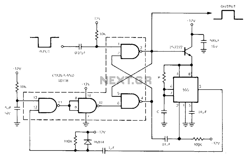 Low power monostable circuit diagram - schematic
