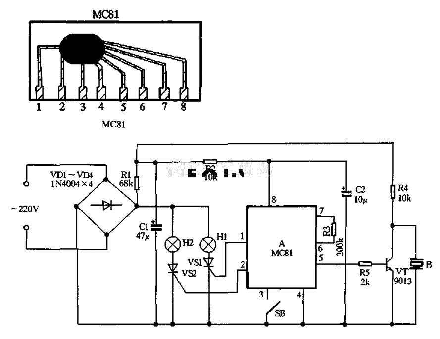 MC81 holiday lights ASIC - schematic