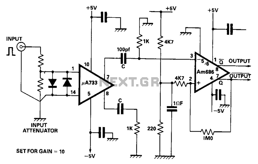 monostable circuit diagram of the use of video amplifiers and comparators under monostable