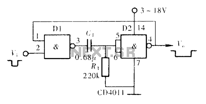 Monostable flip-flop circuit consisting of door - schematic