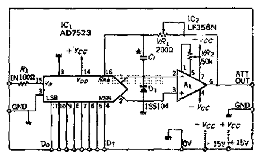Multiplicative -DA converter electronic attenuator - schematic