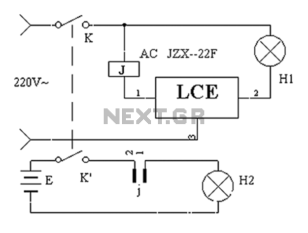 Power failure emergency lights automatically converter circuit diagram - schematic