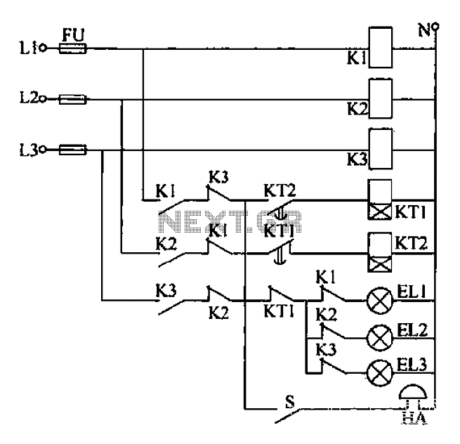 Power phase sequence display circuit - schematic