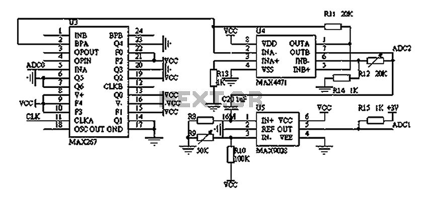 Pressure sensor circuit with a filtering and amplification circuit diagrams - schematic