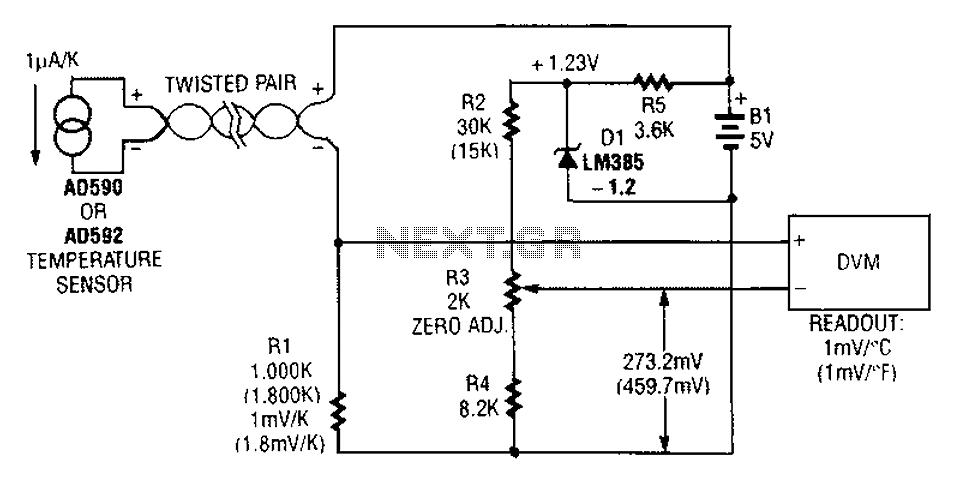 Remote temperature sensing circuit diagrams - schematic