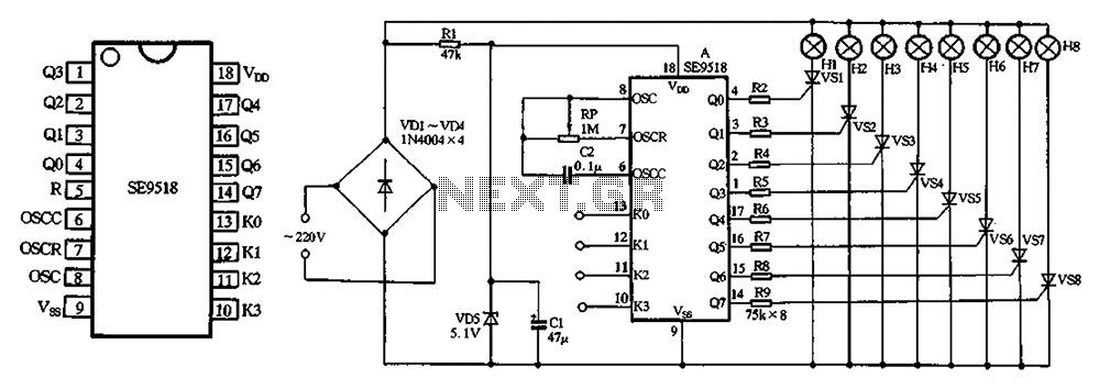 SE9518 holiday lights ASIC - schematic