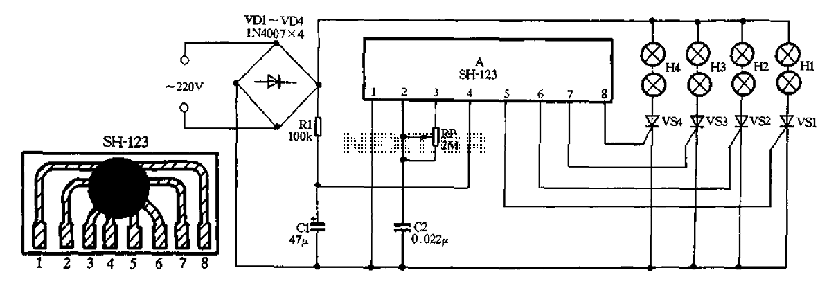 SH-123 ASIC holiday lights - schematic