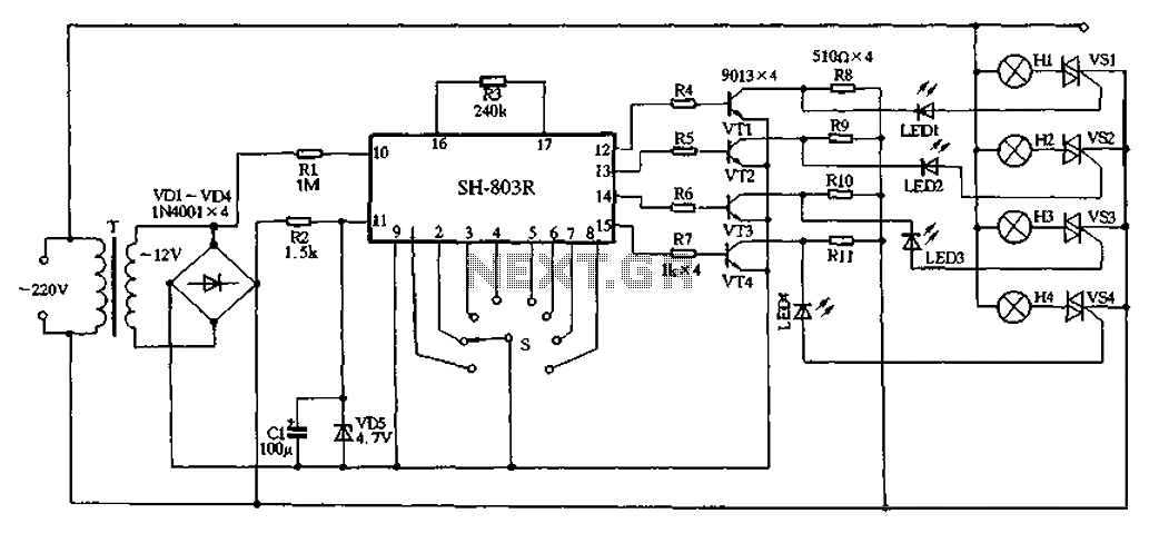 SH-803R produced by high-power holiday lights - schematic