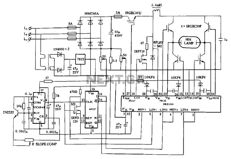 schematic ir2130 for 1kw high pressure mercury lamp ballast system under light laser led