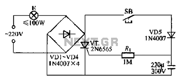 Simple light delay circuit 3 - schematic