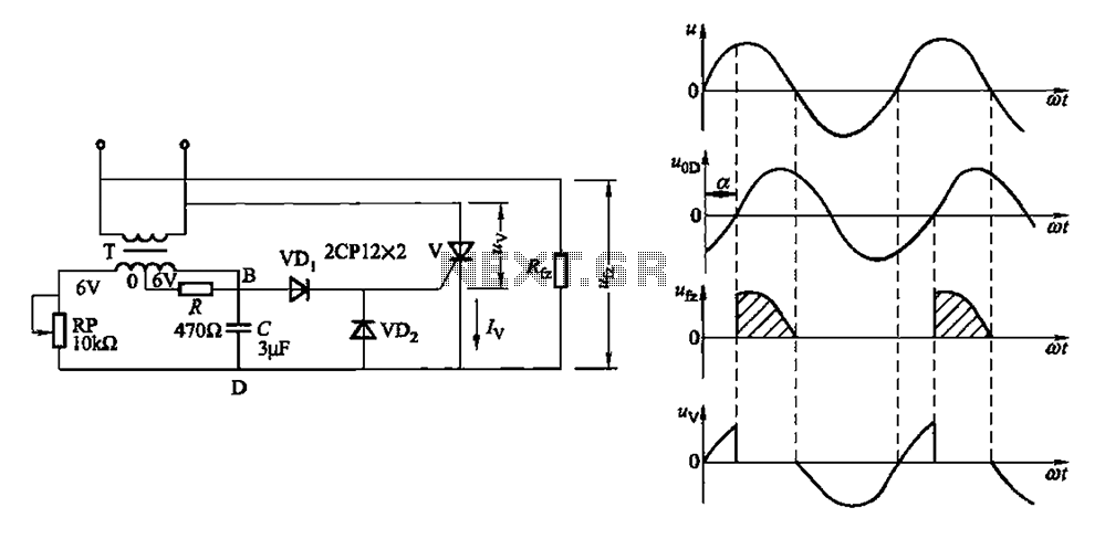 Single phase half-wave phase-shift trigger circuit resistance-capacitance