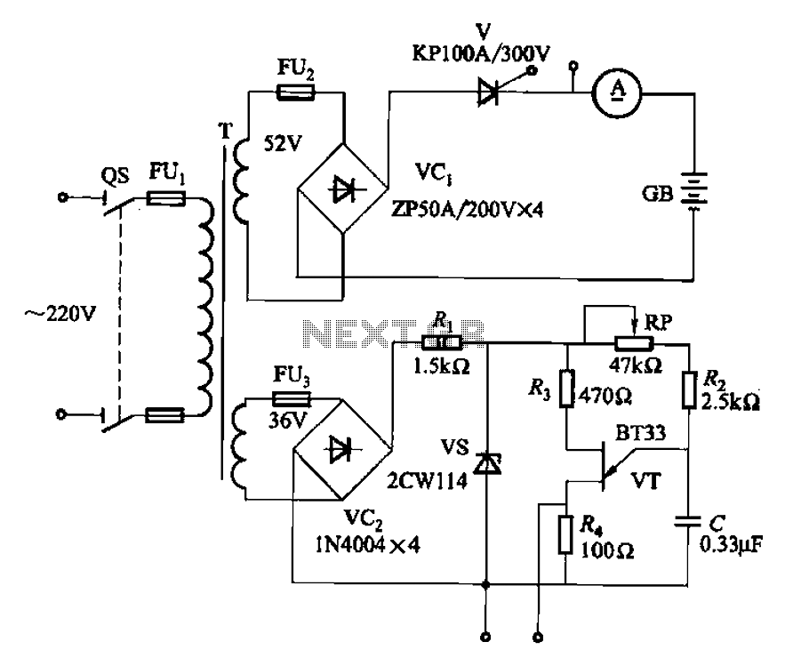 Small thyristor charging circuitry of the three - schematic