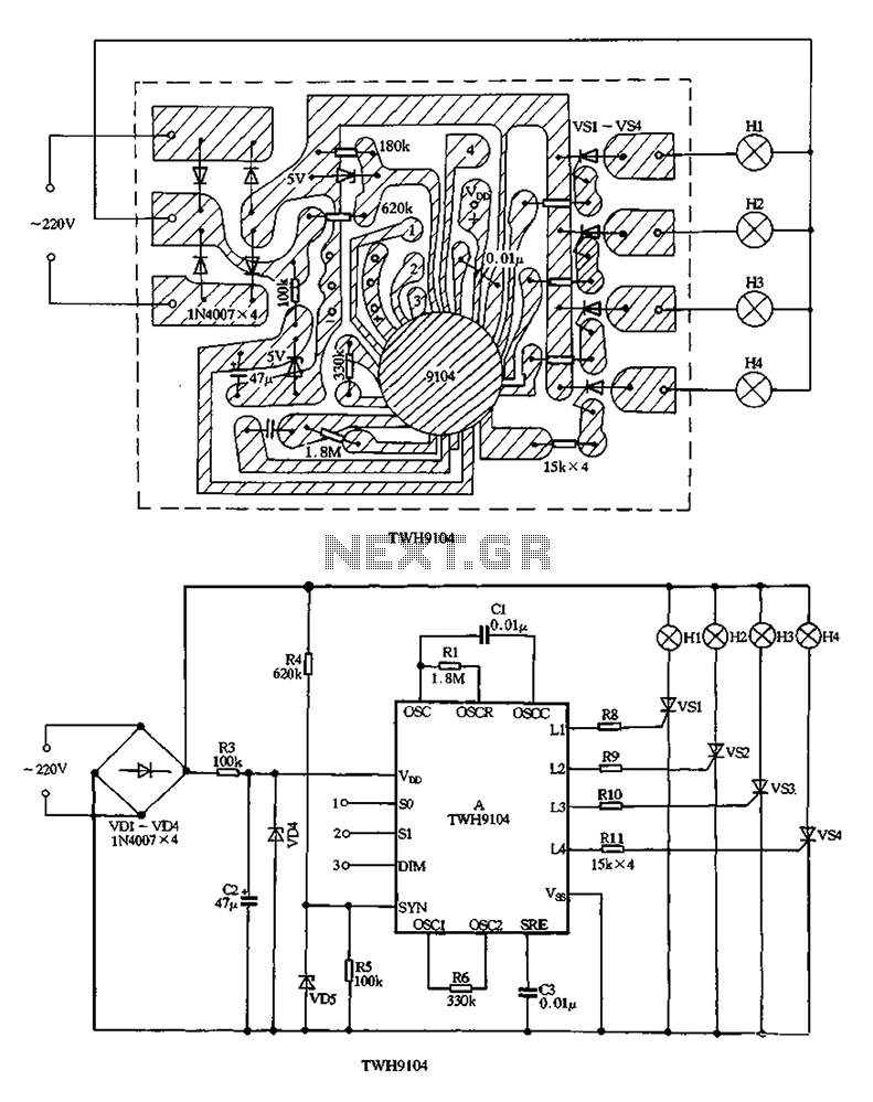 TWH9104 holiday lights ASIC - schematic